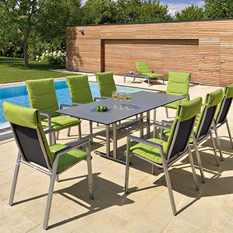Gartenmöbel der Serie Brasil elegante mit grünen Sitzauflagen