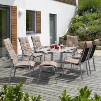 Gartenmöbel Ibiza mit gestreiften Pölstern