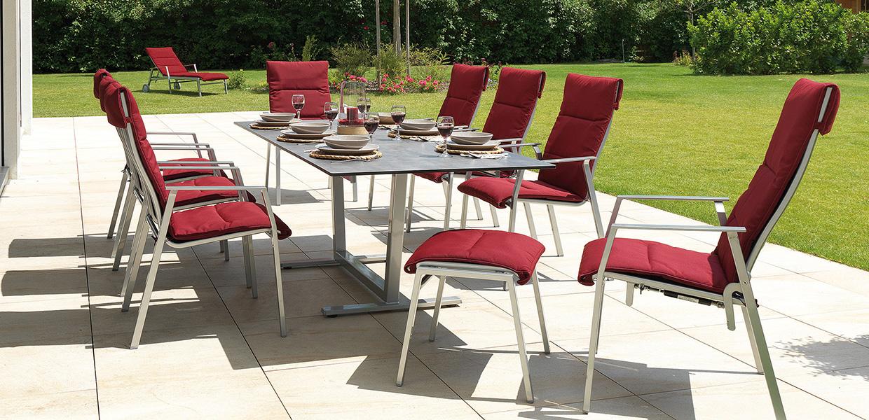 Gartengarnitur Montana Elegance mit roten Sitzauflagen