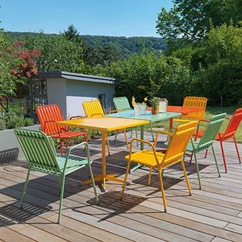 Gartengarnitur Bistro in orange, grün und gelb