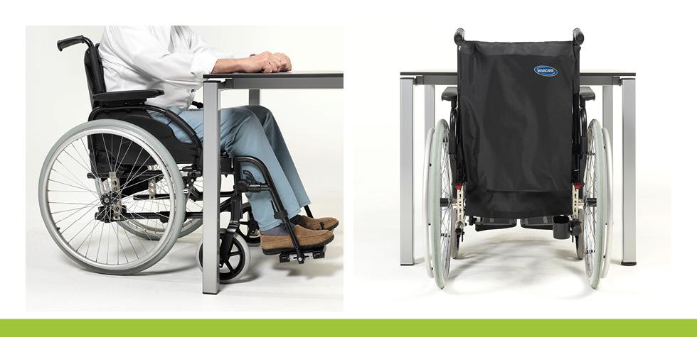 Seiten- und Rückenansicht eines Rollstuhls unter einem Care Line Tisch