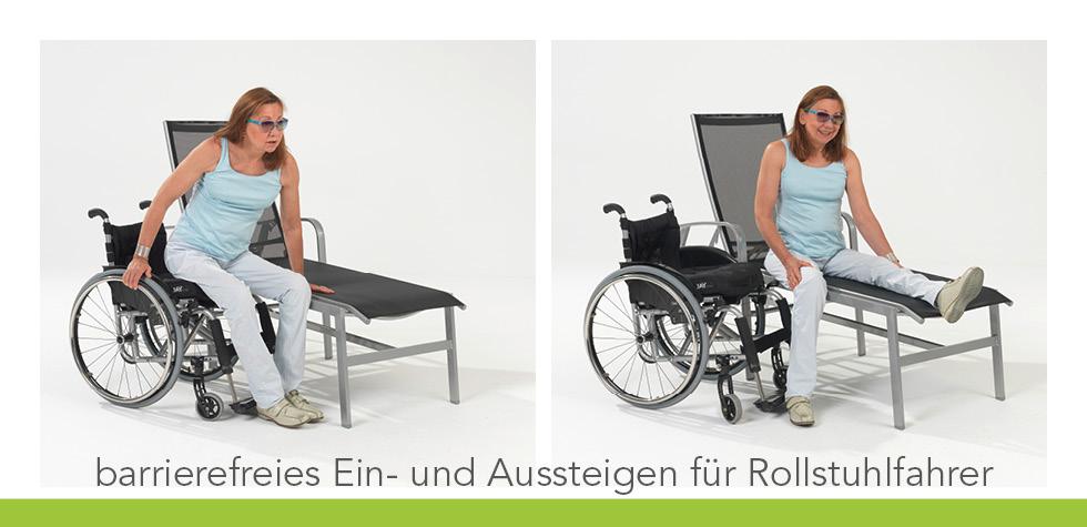 Rollstuhlfahrerin setzt sich auf Care Wellnessliege