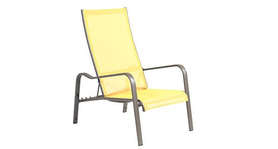 Deckchair der Serie Barbados in der Farbe Gelb
