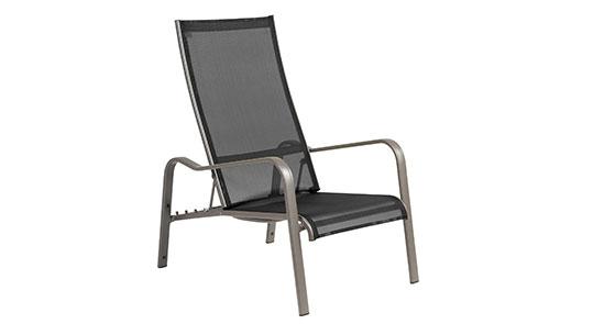 Deckchair der Serie Barbados in der Farbe Schwarz