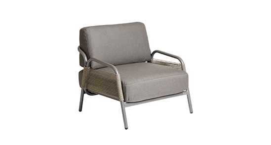 1er Sessel Havanna in grau mit Armlehnen und Rope-Wickelung ohne Hintergrund